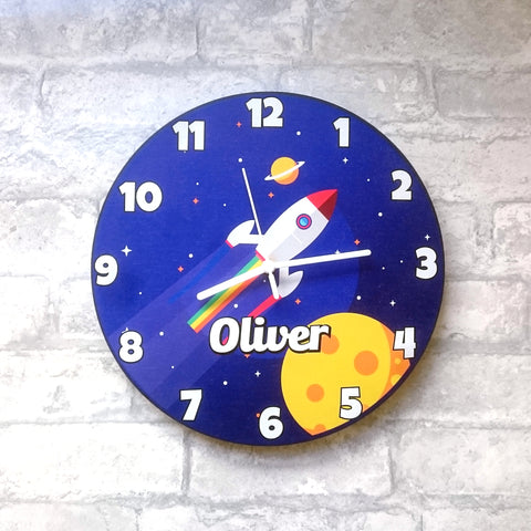 Personalised Child's Space Theme Wall Clock