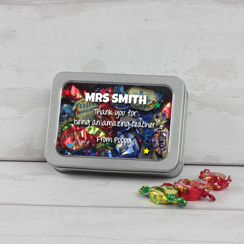Personalised Teacher Sweetie Tin