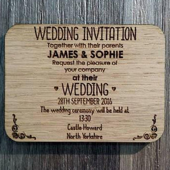 Wedding Rectangle Invite - wooden