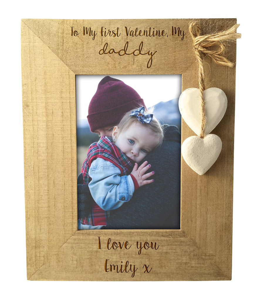 Personalised \'Daddy and Daughter\' Rustic Wooden Valentines Frame ...