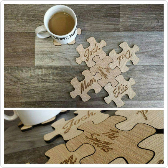 Puzzle Coasters - wooden engraved coasters
