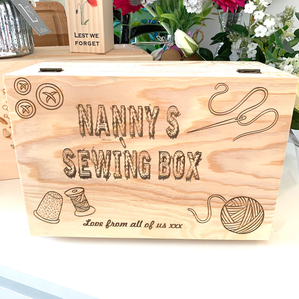 Sewing Box - personalised wooden box