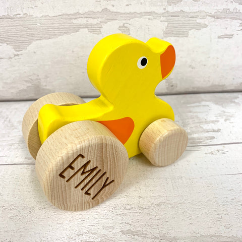 Duck - push along wooden personalised duck