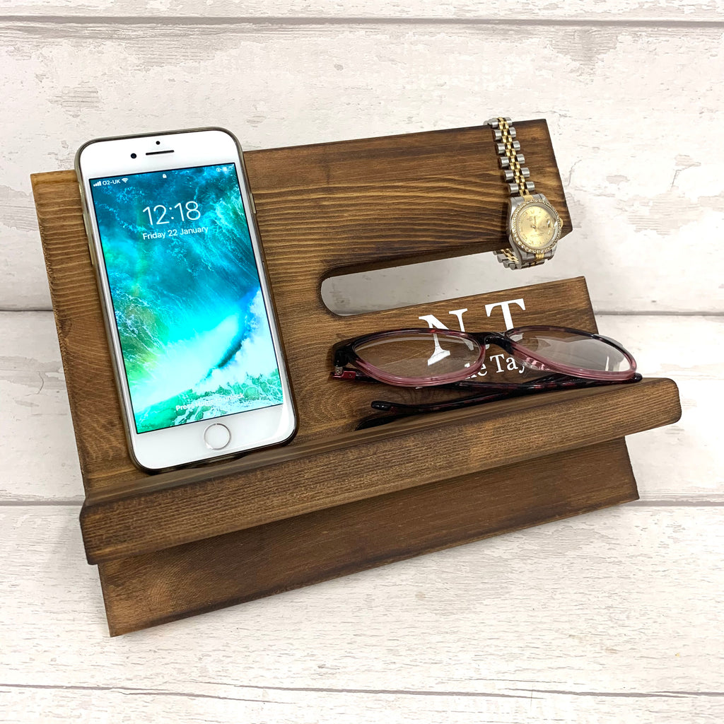 Phone & Accessories Stand - dark oak