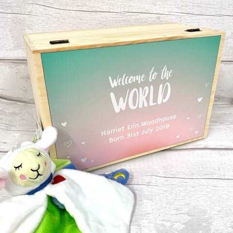 New Born Baby Memory Box - Welcome to the World design