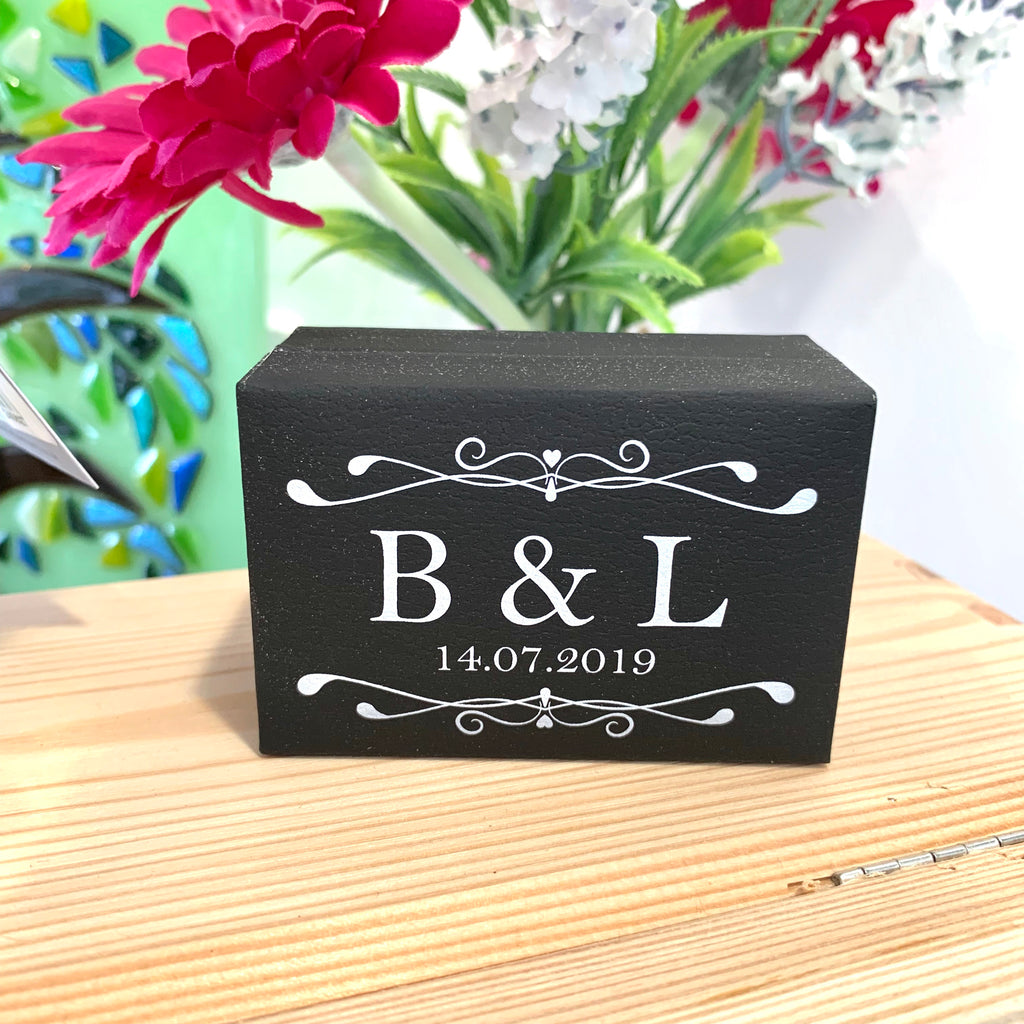 Black monogrammed leatherette ring box