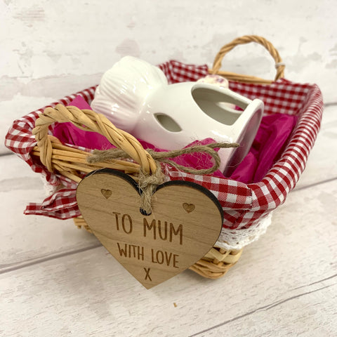 Wax melt personalised basket gift set - RED - with hearts