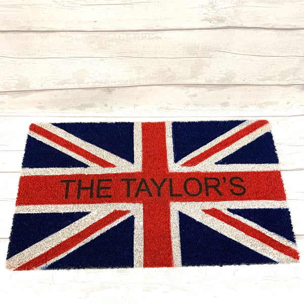 Door mat - Union Jack Flag Personalised Door Mat