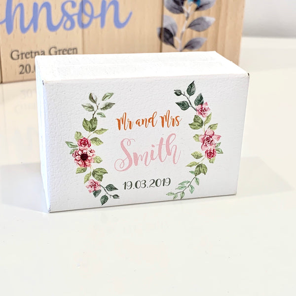 Leatherette Double Wedding Ring Box Personalised