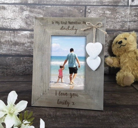Picture frame - Rustic style with hearts