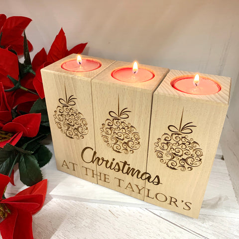 Tea light candle set of three Christmas design