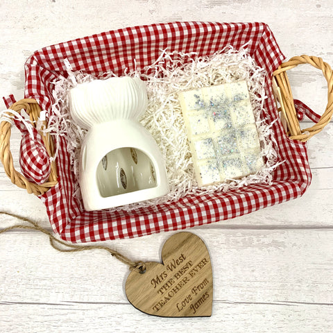 Wax melt personalised basket gift set - RED - snap bar