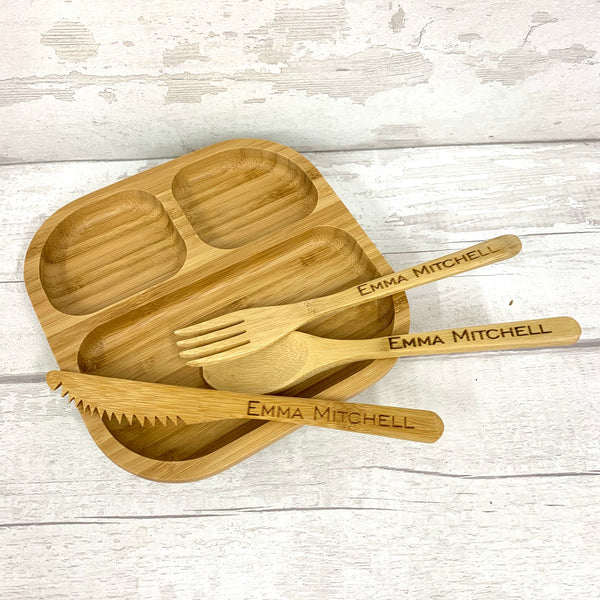 Bamboo cutlery set - personalised