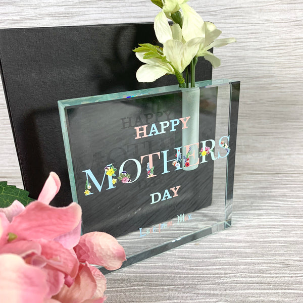 Mother's Day Glass plaque with single stem vase