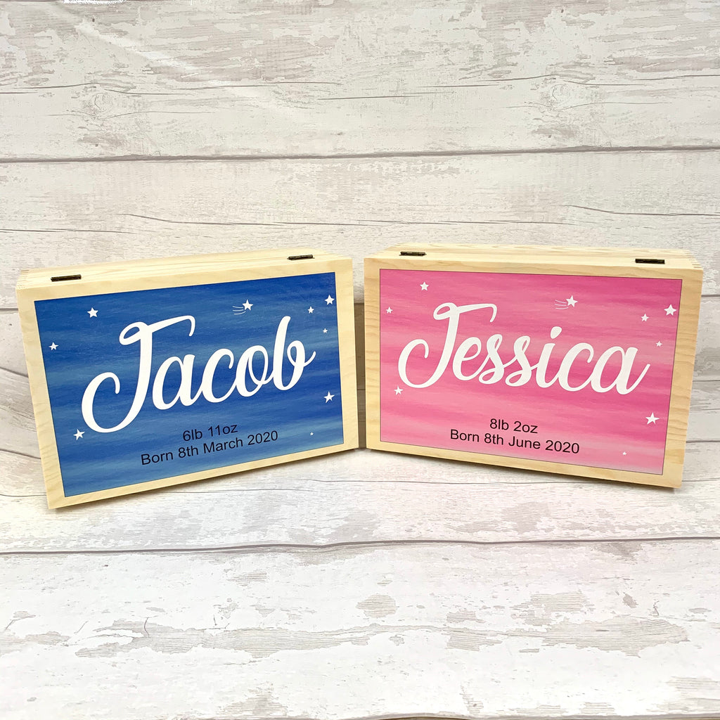 New Born Baby Memory Box - Large Name Design