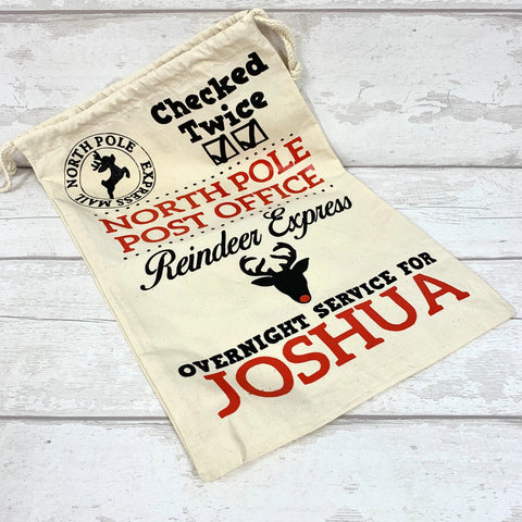 Large Santa Drawstring Sack - Personalised