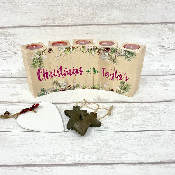 Christmas Candle Set of 5 - printed design