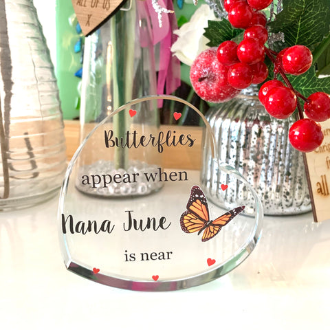 Butterflies appear... Crystal Glass Heart