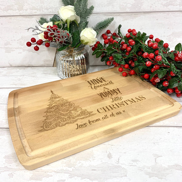 Beech chopping board Christmas design