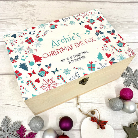 Snowflakes, Trees, Gifts & Holly - Christmas Eve Box - New Design