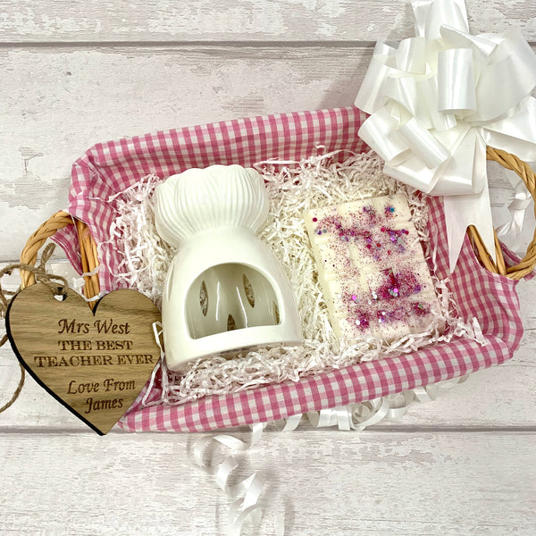 Wax melt personalised basket gift set - PINK - snap bar