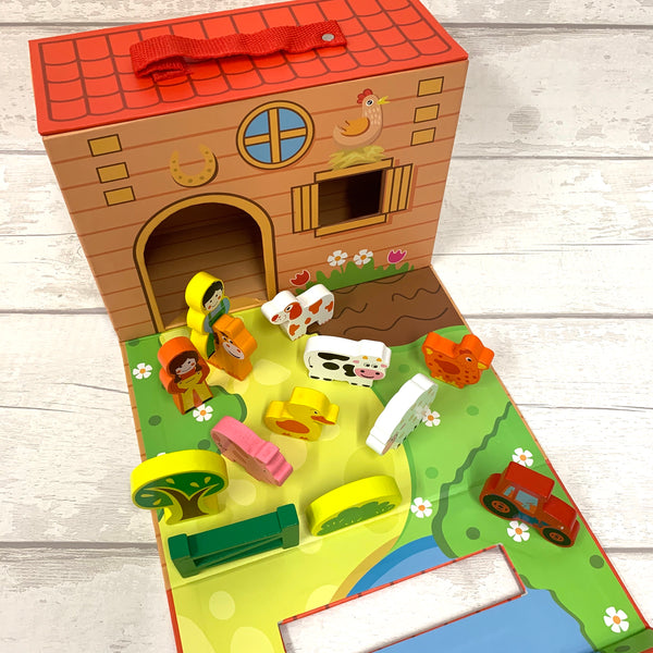 Foldaway Wooden Toys - Farm, Police, Fire, Unicorn set
