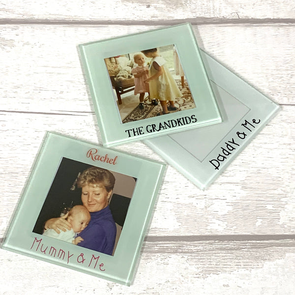 Glass photo frame coaster