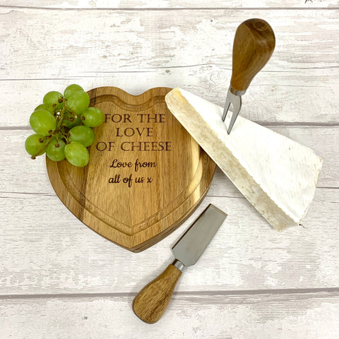 Cheese board - solid oak heart shape