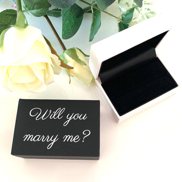 Leatherette Will You Marry Me Double Ring Box