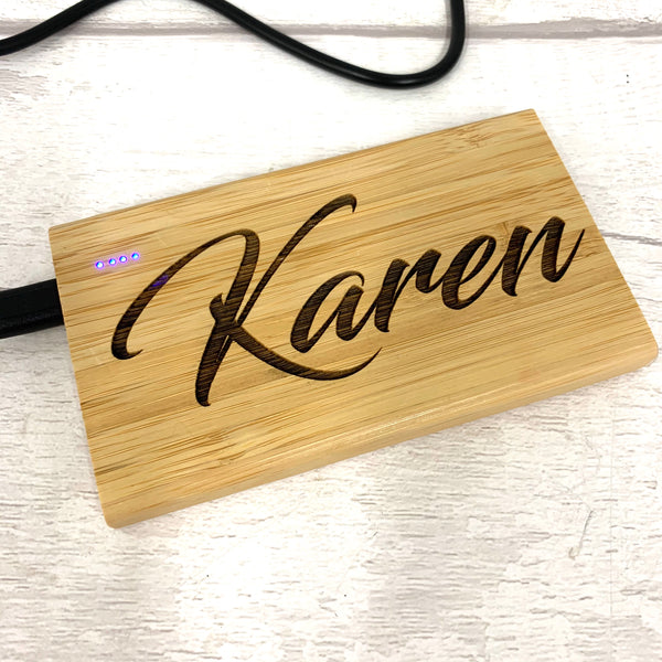Bamboo power bank phone charger - personalised