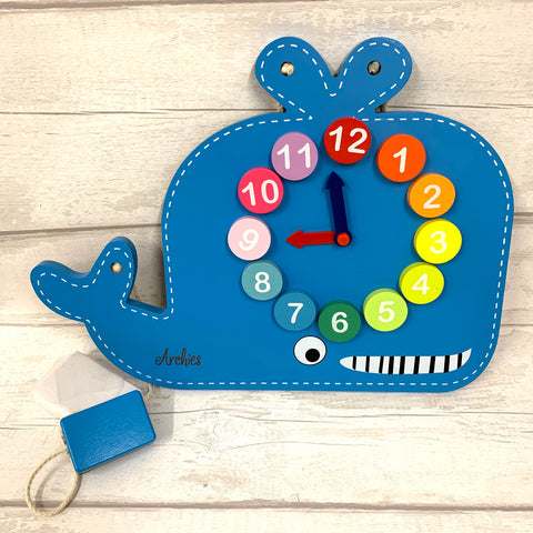 Colourful Whale Clock/Chalkboard