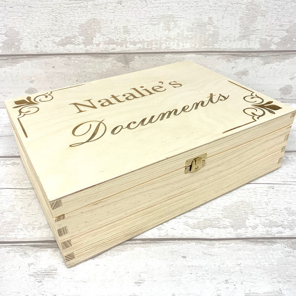 Document Case - A4 Laser Engraved Personalised Wooden Box