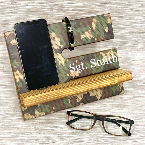 Camouflage Wooden Phone & Accessories Stand
