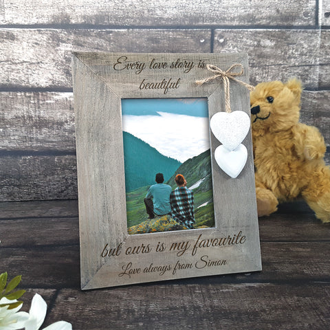 Rustic Wood Picture Frame With Hearts - Personalised