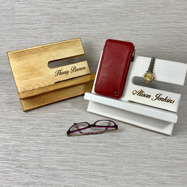 Wooden Phone & Accessories Stand - Laser Engraved