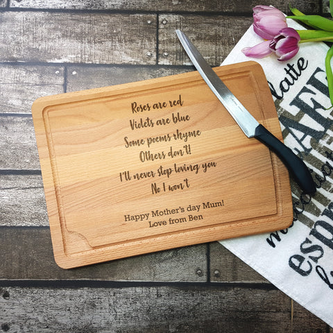 Mother's Day Poem Chopping Board