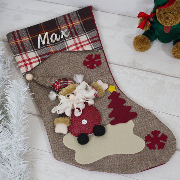 3D Christmas Stocking - embroidered