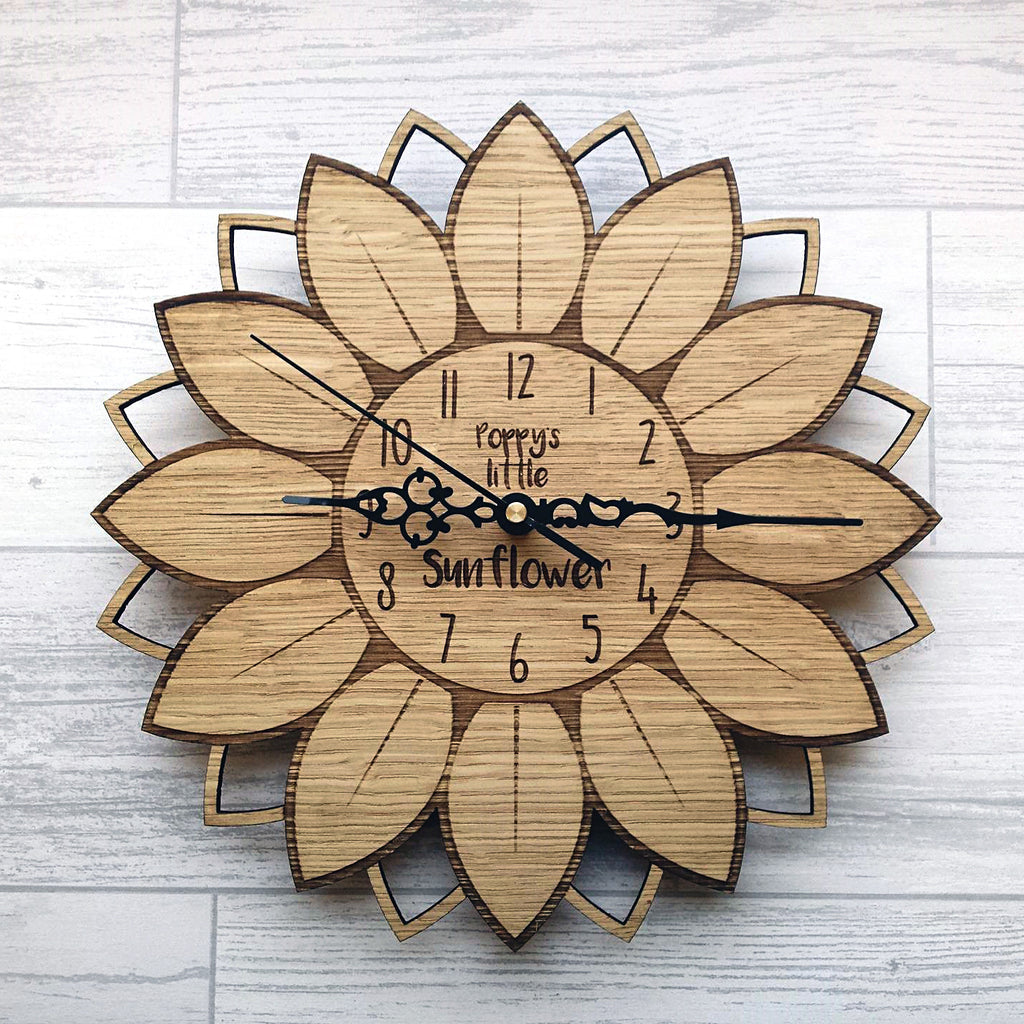 Sunflower  Clock - personalised