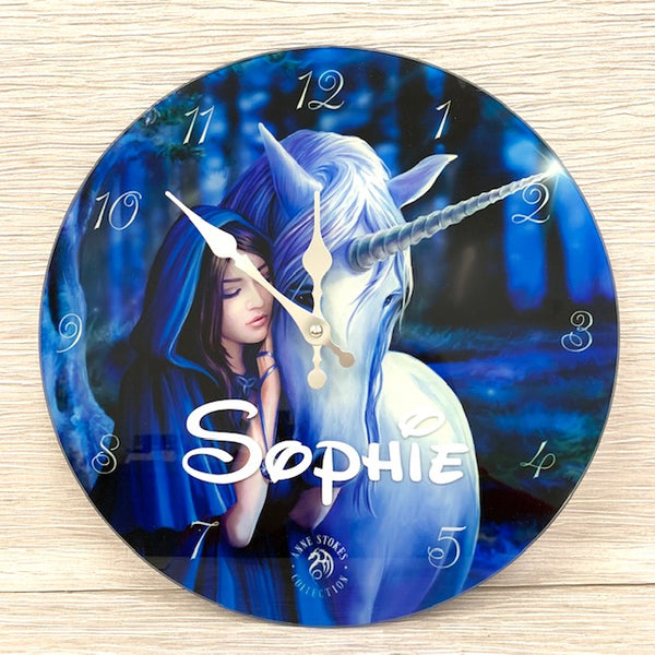 Glass Unicorn Clock