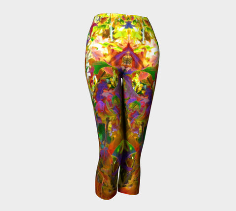 CDSC00216 Rainbow Leaves Capris Yellow