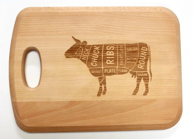 """Beef Cuts"" Engraved Beech Chopping Board - Personalised For"