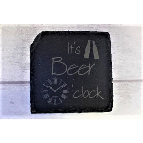 Beer O'clock Engraved Slate Coaster - ukhomeware