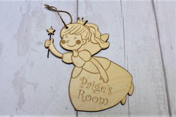 Personalised Fairy Princess Wooden Door Hanger - ukhomeware