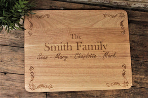 Personalised Family Serving Platter Personalised this large serving platter/ chopping board with your family name and family members. Perfect as a display piece for your kitchen or as a centrepiece to family meals and dinner parties. Perfect for house warmings, Christmas, anniversary and birthday gifts