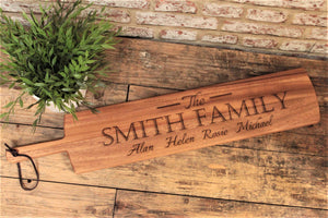 Family Design Engraved Large Acacia Paddle Serving Board
