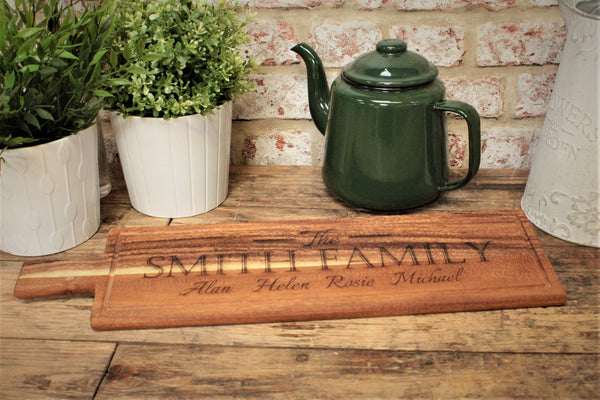 Family Design Engraved Long Acacia Paddle Serving Board
