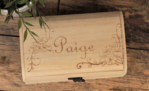 Floral Design Personalised Memory Keepsake Box