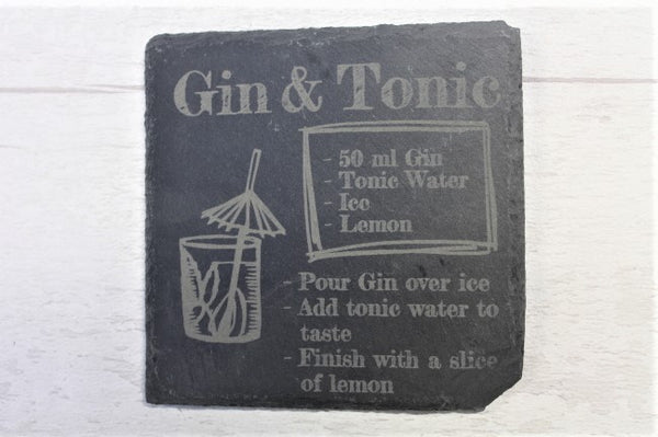 Cocktail Design Engraved Slate Coaster - ukhomeware