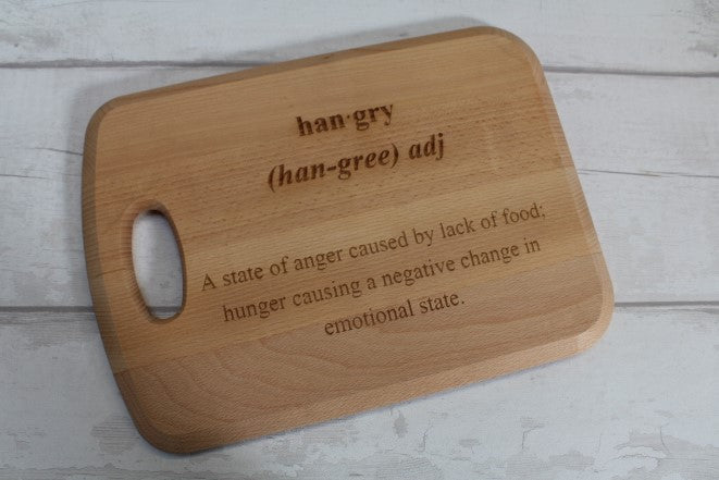"""Hangry"" Engraved chopping board - ukhomeware"