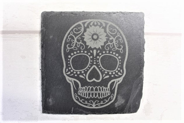 Candy Skull Engraved Slate Coaster - ukhomeware